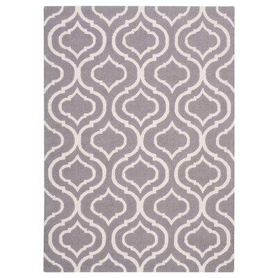 Aidyn Hand-Hooked Gray Area Rug Rug Size: 39 x 59