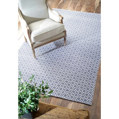 Malbrough Hand-Woven Navy Blue/White Area Rug Rug Size: Rectangle 6 x 9