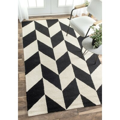 Rummel Hand-Tufted Black/White Indoor Area Rug Rug Size: Rectangle 76 x 96