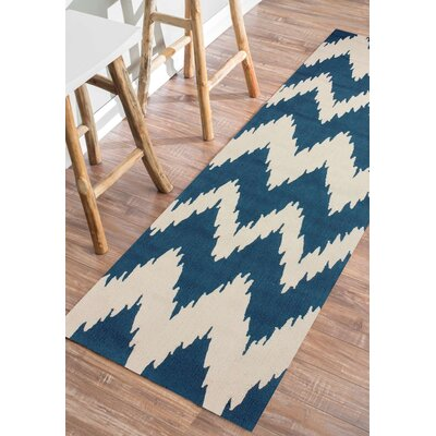 Rutherford Blue Chevron Area Rug Rug Size: Runner 26 x 8