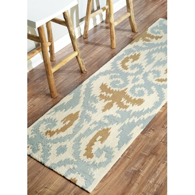 Rutherford Hand-Tufted Beige/Blue Rug Rug Size: Rectangle 76 x 96