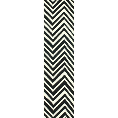 Sabatini Black Chevron Area Rug Rug Size: Runner 26 x 8