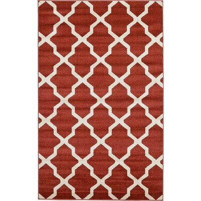 Kellie Dark Terracotta Area Rug Rug Size: 33 x 53