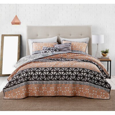 Conte 5 Piece Quilt Set Size: King, Color: Coral/Black