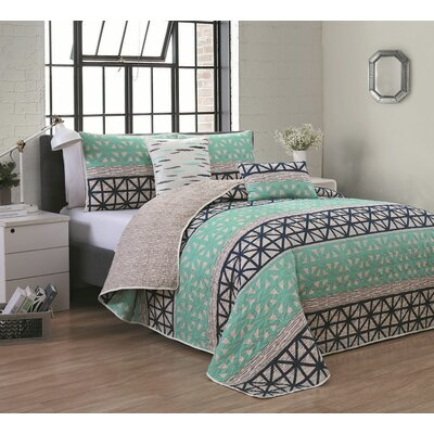 Conte 5 Piece Quilt Set Size: Queen, Color: Teal/Navy Blue