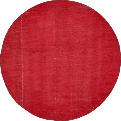Risley Red Area Rug Rug Size: Round 8