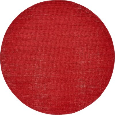 Risley Red Area Rug Rug Size: Round 5