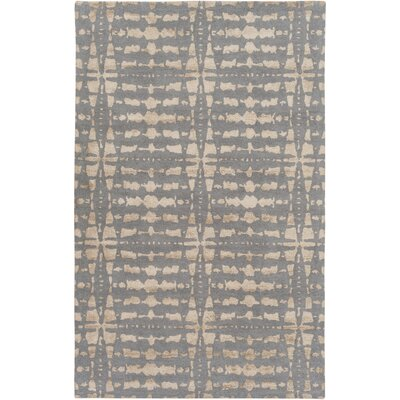Brey Hand-Tufted Khaki/Navy Area Rug Rug size: 4 x 6