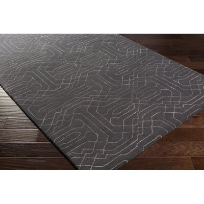 Brey Hand-Tufted Black/Light Gray Area Rug Rug size: Rectangle 5 x 76