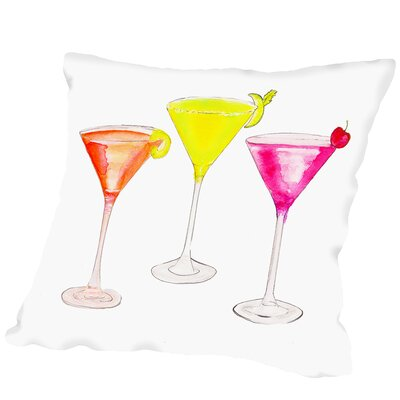 3 Cocktail Glasses Outdoor Throw Pillow Size: 16 H x 16 W x 2 D