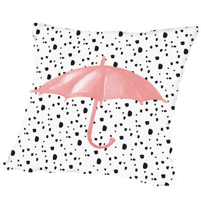 Umbrella on Polka Dots Outdoor Throw Pillow Size: 16 H x 16 W x 2 D