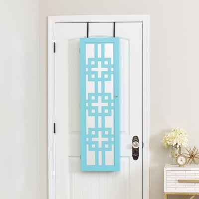 Modern Over The Door Jewelry Armoire with Mirror Finish: Turquoise