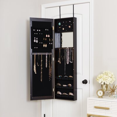 Modern Over The Door Jewelry Armoire with Mirror Finish: Espresso