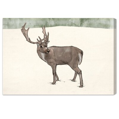 'Lone Reindeer' Graphic Art on Canvas