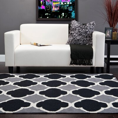 Killion Grey & Black Geometric Area Rug Rug Size: 9 x 13