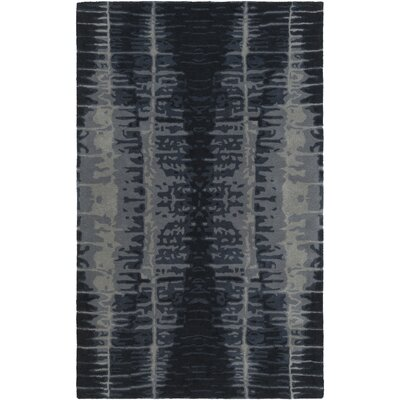 Romola Hand-Tufted Black/Medium Gray Area Rug Rug size: Rectangle 5 x 8