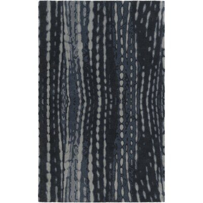 Romola Hand-Tufted Black/Blue Wool Area Rug
