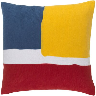 Greenway 100% Cotton Throw Pillow Cover Size: 18 H x 18 W x 1 D, Color: Bright RedBright YellsDark BlueWhite