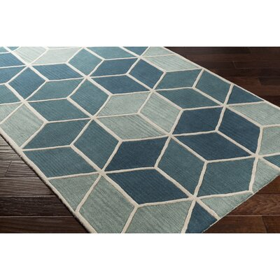 Vaughan Hand-Tufted Blue/Green Area Rug Rug Size: 33 x 53
