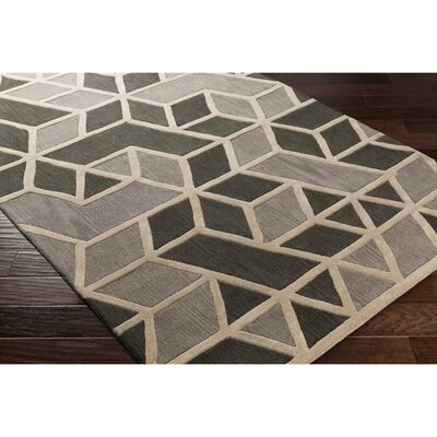 Vaughan Hand-Tufted Gray Wool Area Rug Rug Size: Rectangle 5 x 8