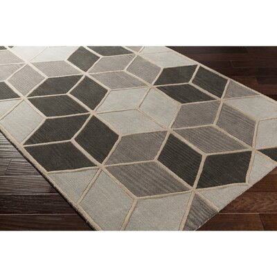 Vaughan Hand-Tufted Geometric Gray Area Rug Rug Size: Rectangle 33 x 53