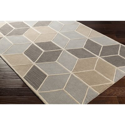 Vaughan Hand-Tufted Rectangle Gray Area Rug Rug Size: 5 x 8