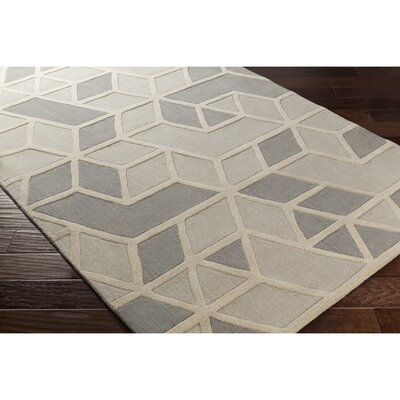 Vaughan Hand-Tufted Rectangle Gray Wool Area Rug Rug Size: 2 x 3
