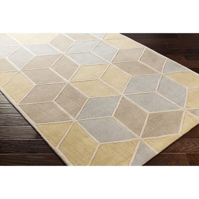 Vaughan Hand-Tufted Neutral/Gray Wool Area Rug Rug Size: 33 x 53