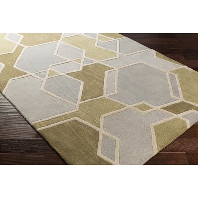 Vaughan Hand-Tufted Gray/Green Area Rug Rug Size: 33 x 53