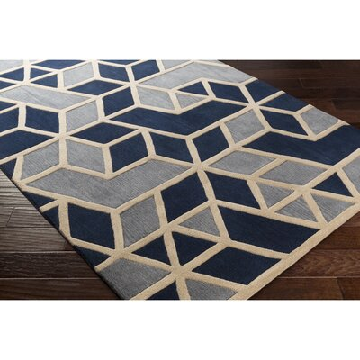 Nealey Hand-Tufted Blue/Gray Area Rug Rug Size: 33 x 53