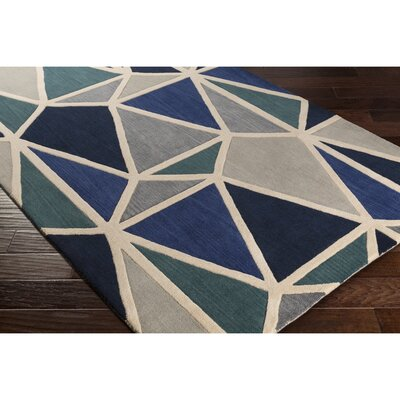 Vaughan Hand-Tufted Blue/Black Area Rug Rug Size: Rectangle 33 x 53