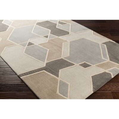 Vaughan Hand-Tufted Green/Neutral Area Rug Rug Size: Rectangle 33 x 53