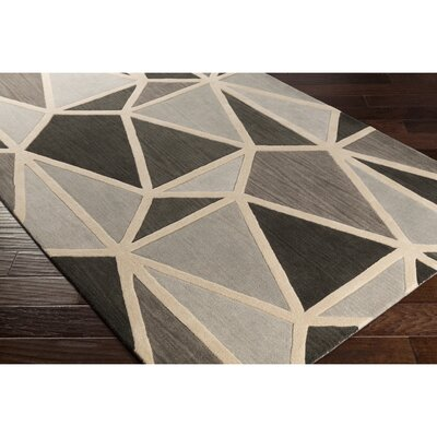 Vaughan Hand-Tufted Gray Area Rug Rug Size: 5 x 8