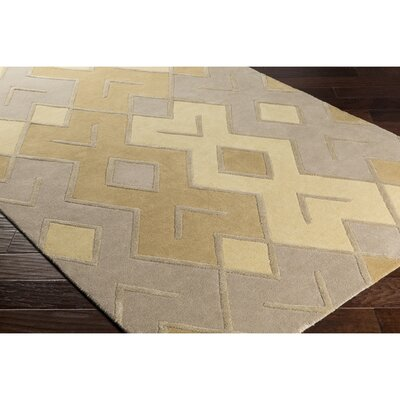 Vazquez Hand-Tufted Yellow/Brown Area Rug Rug Size: Rectangle 5 x 76