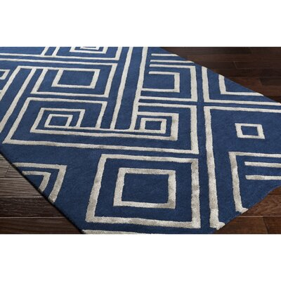 Vazquez Hand-Tufted Blue/Gray Area Rug Rug Size: Rectangle 5 x 76