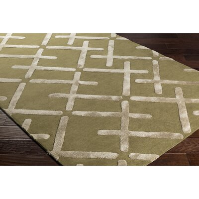 Vazquez Hand-Tufted Green/Neutral Wool Area Rug Rug Size: Rectangle 5 x 76