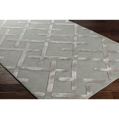 Vazquez Hand-Tufted Geometric Green/Gray Area Rug Rug Size: Rectangle 5 x 76