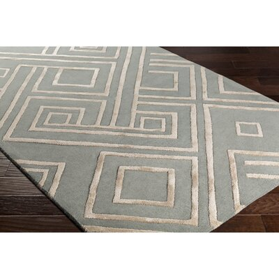 Dustin Hand-Tufted Green/Neutral Area Rug Rug Size: 2 x 3