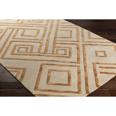 Vazquez Hand-Tufted Neutral/Orange Area Rug Rug Size: 2 x 3