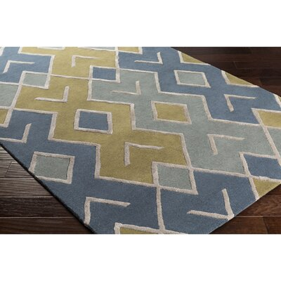 Vazquez Hand-Tufted Green/Blue Area Rug Rug Size: Rectangle 5 x 76
