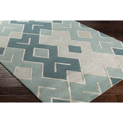Dustin Hand-Tufted Gray/Green Area Rug Rug Size: 5 x 76