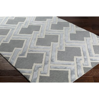 Vazquez Hand-Tufted Gray Area Rug Rug Size: Rectangle 5 x 76