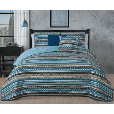 Chadwell 5 Piece Reversible Quilt Set Color: Blue, Size: Queen