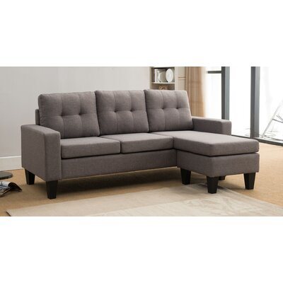 Briley Reversible Sectional Upholstery: Light Gray