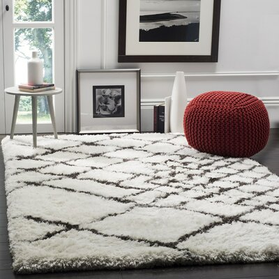 Briganti Hand-Tufted Ivory/Dark Gray Area Rug Rug Size: Rectangle 4 x 6