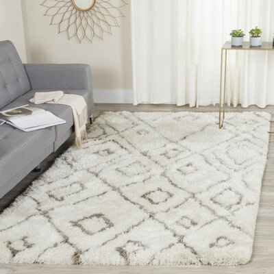 Briganti Hand-Tufted Ivory/Light Gray Area Rug Rug Size: 5 x 8