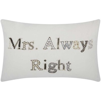 Mikonos Mrs. Always Right Cotton Duck Lumbar Pillow