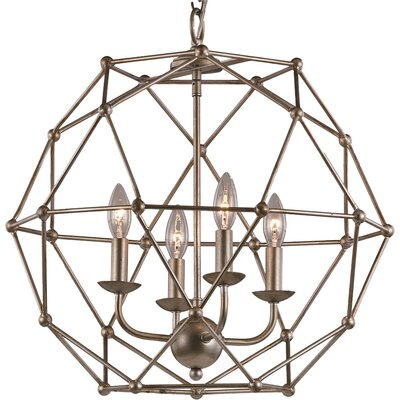 Cavanagh 4-Light Globe Pendant Finish: Antique Silver Leaf
