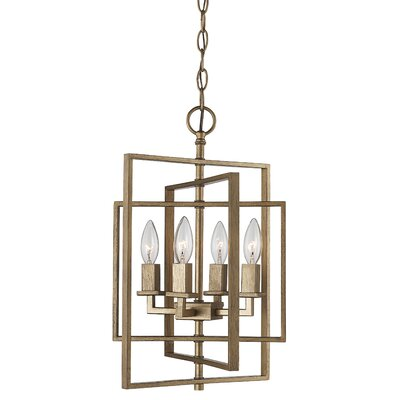 Yarnell 4-Light Foyer Pendant Finish: Antique Silver, Size: 20 H x 20 W x 20 D