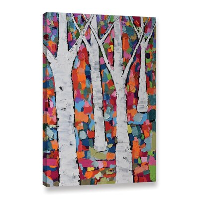 Vibrant Forest Painting Print on Wrapped Canvas MROW7937 33605435